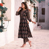 MIDNIGHT BLACK RED AJRAKH  PRINT KURTA SET