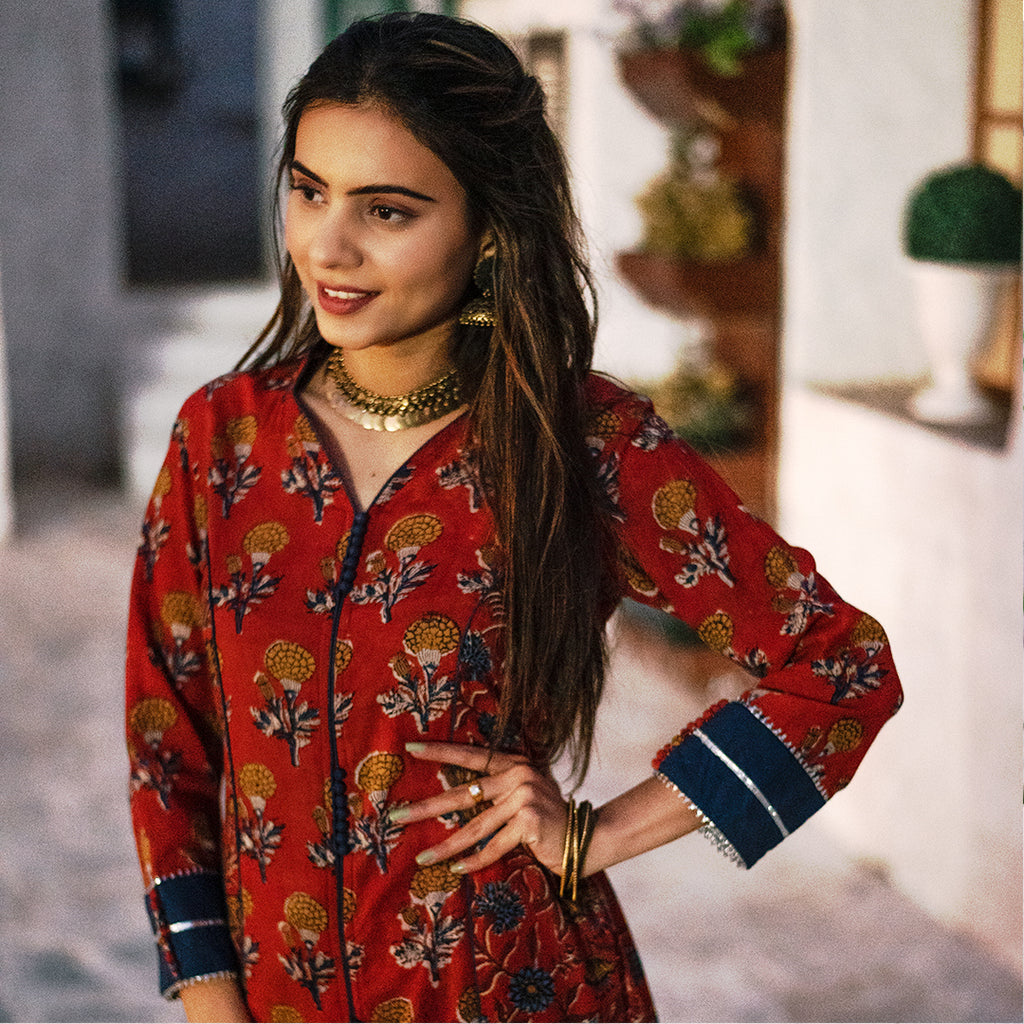 INDIAN RED PRINCESSLINE FLORAL KURTA SET