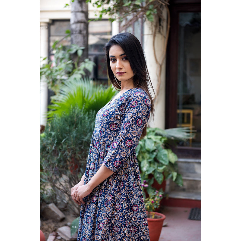 Blue Ajrakh Print Maxi Dress