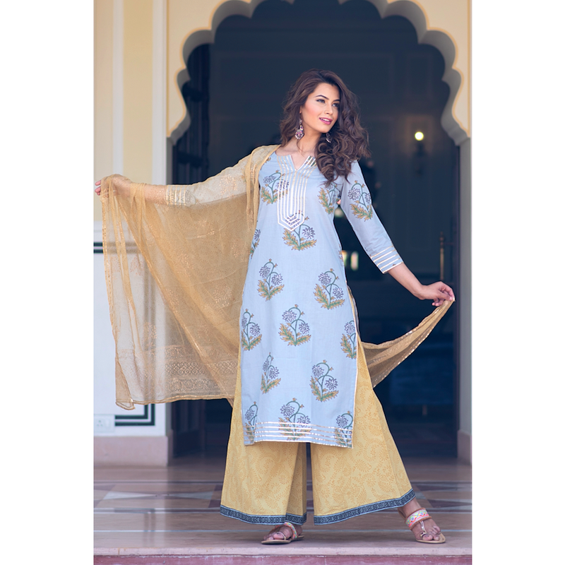 Grey Gota Work Block Printed Kurta Palazzo Set