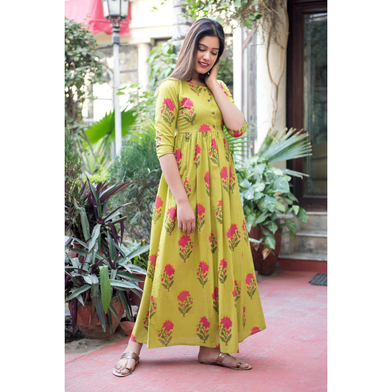 Block Printed Mughal Butta Maxi Dress In Green