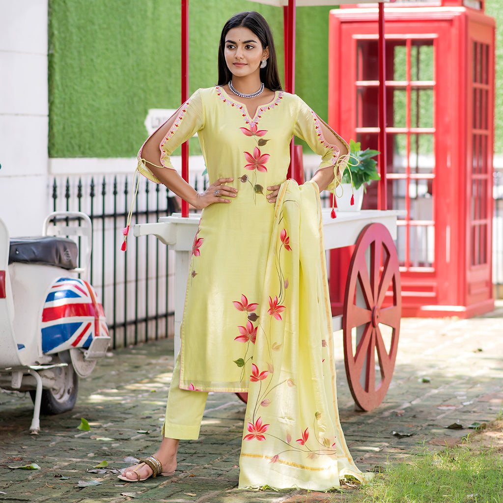 Lime Yellow Chanderi Handpainted Suit