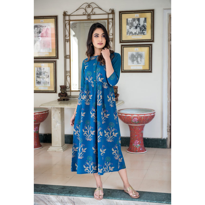 Blue Mughal Butta Block Printed Fusion Dress