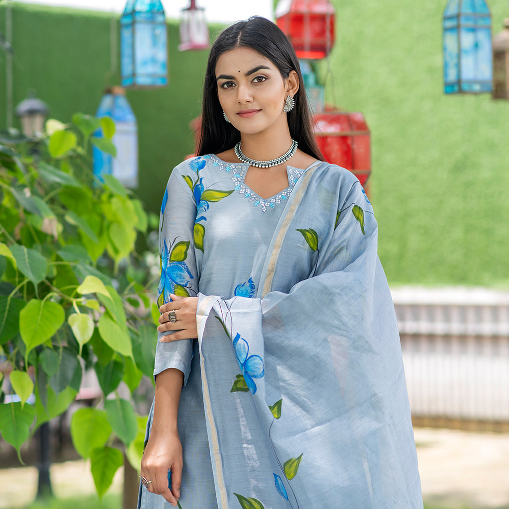 Ocean Grey Artsy flora Chanderi Suit