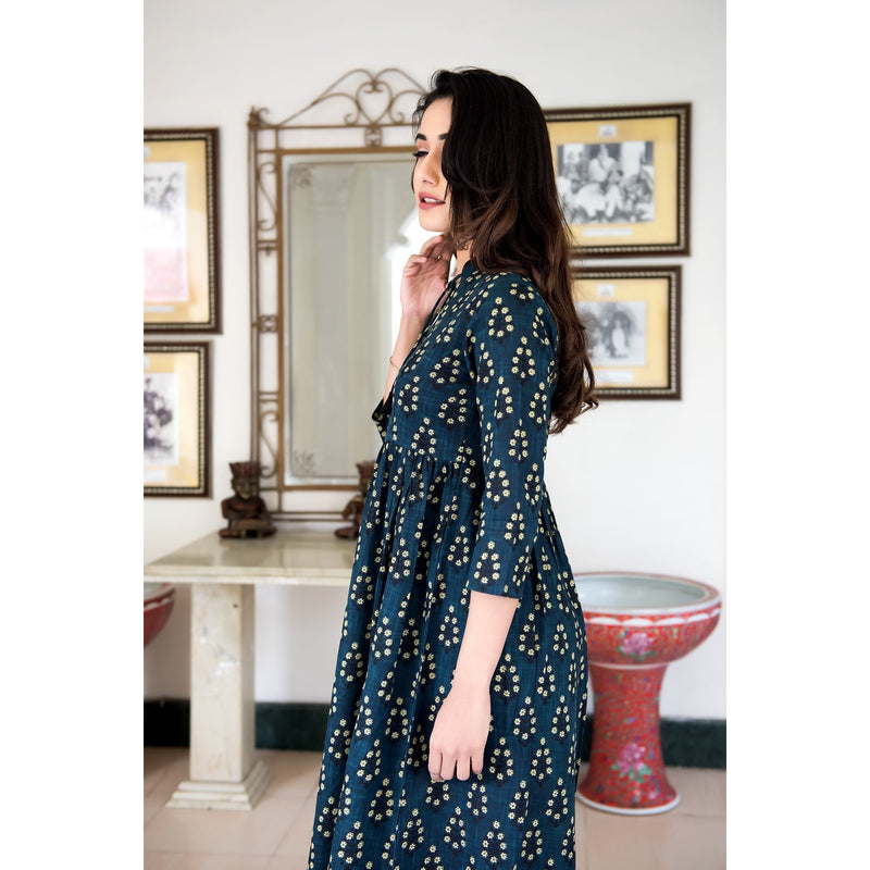 Hand Block Printed Tassel Maxi Dress In Dark Blue