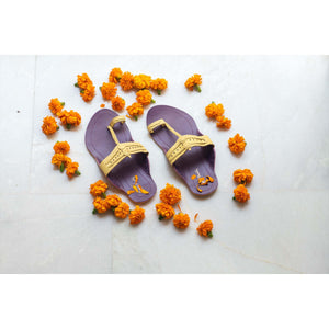 Purple & Yellow Handcrafted Two-Tone Kolhapuris