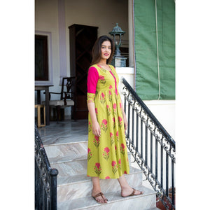 Block Printed Mughal Butta Short Patch Maxi Dress In Green