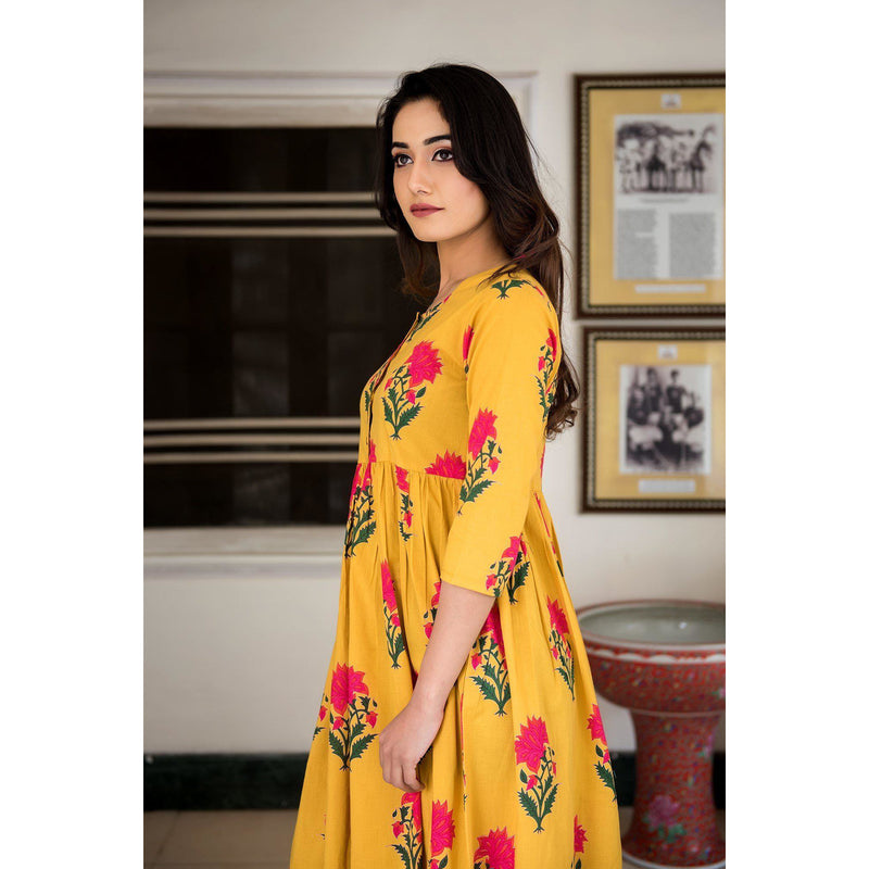Block Printed Mughal Butta Maxi Dress In Yellow