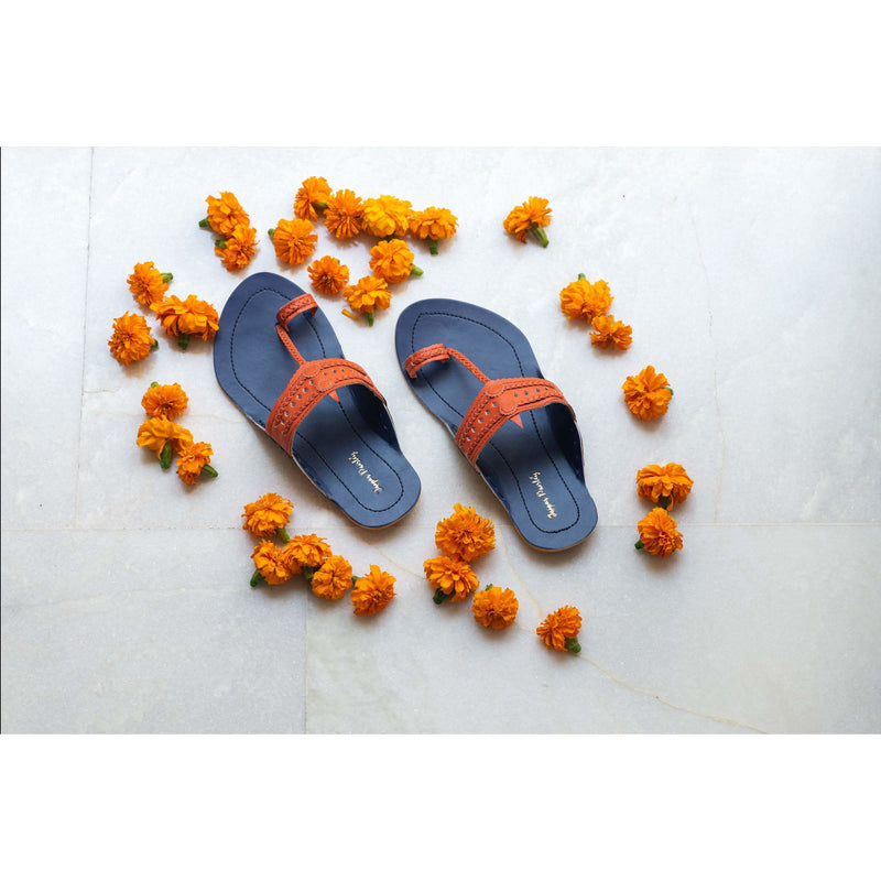 Blue & Rust Handcrafted Two-Tone Kolhapuris