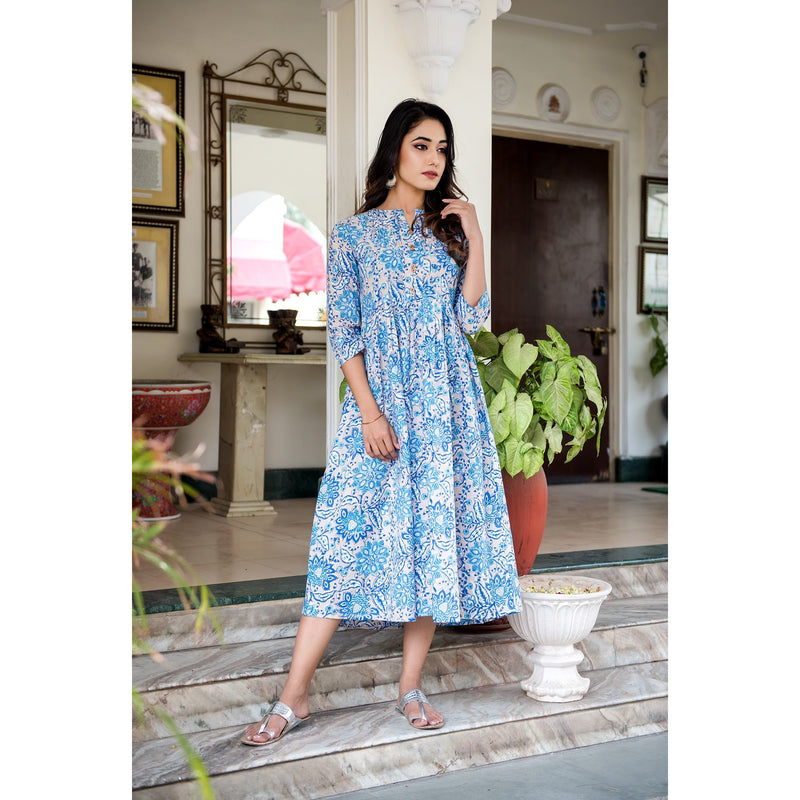 Ocean Blue Block Printed Day Dress