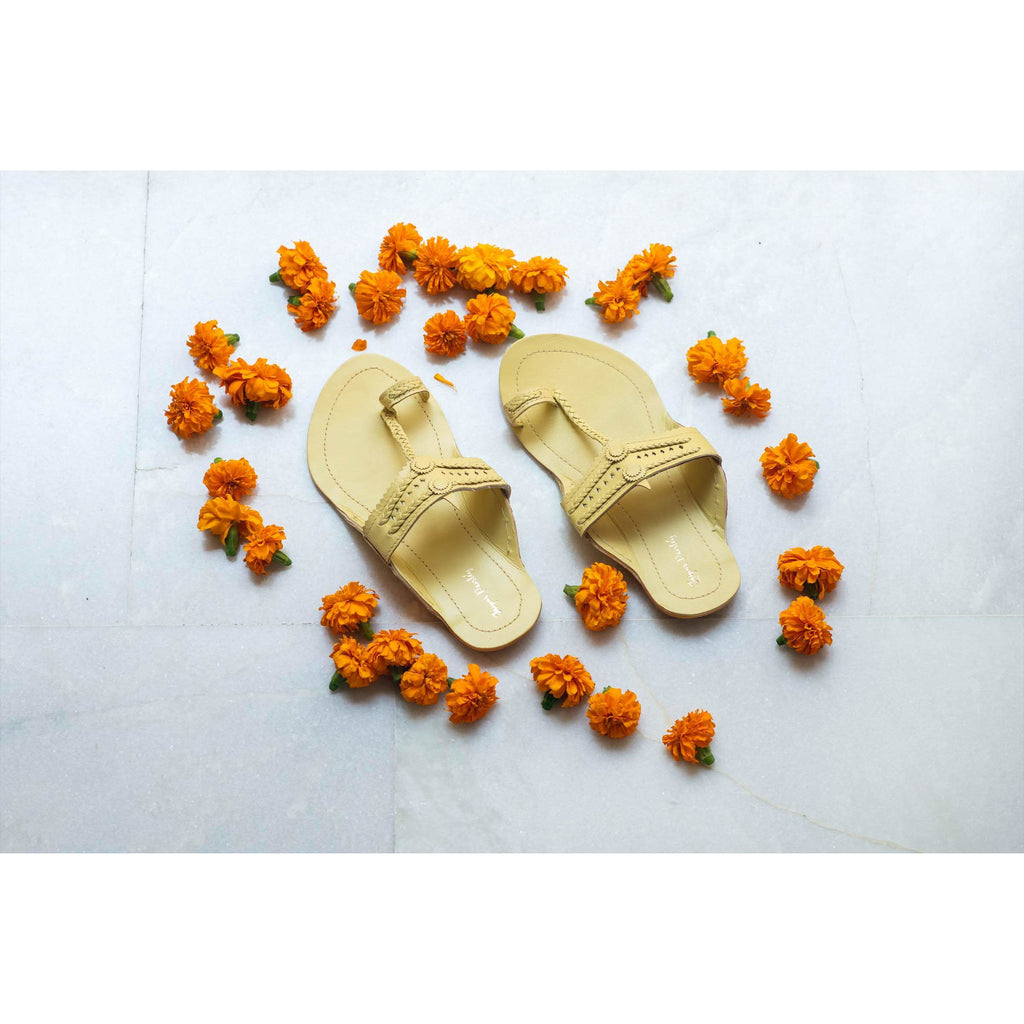 Yellow Handcrafted Leather Kolhapuris