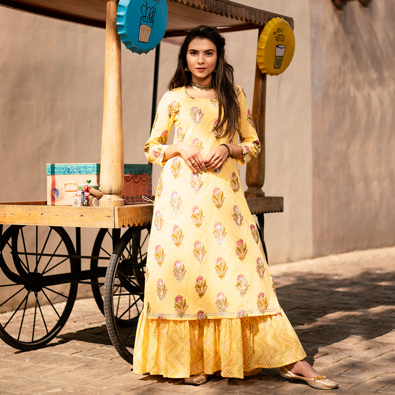 FOLK YELLOW MIRROR GOTA WORK DRESS