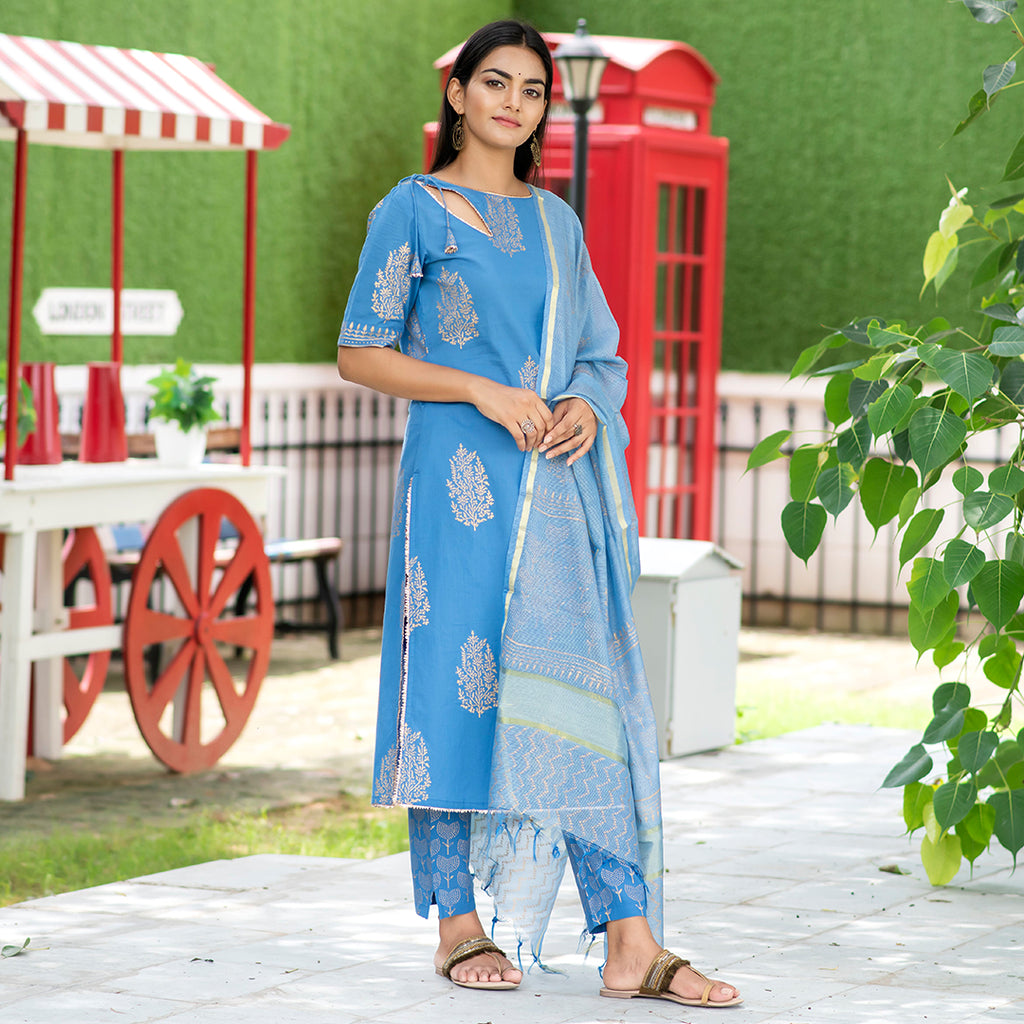 Golden Geometric Heritage Royal Blue Suit