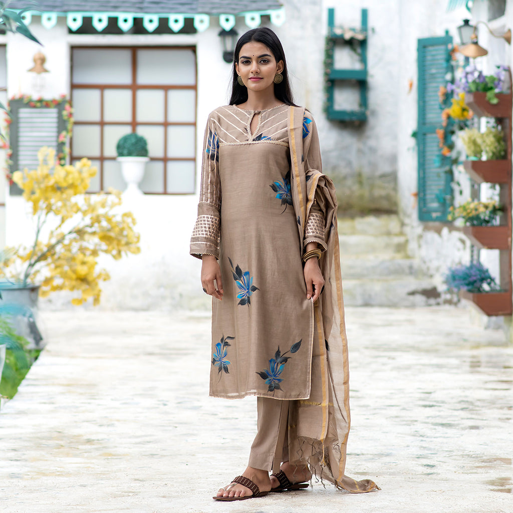 Rajwadi Gota Metallic Brown Chanderi Suit