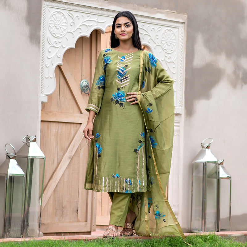 Handpainted Rose Olive Chanderi Gota Suit