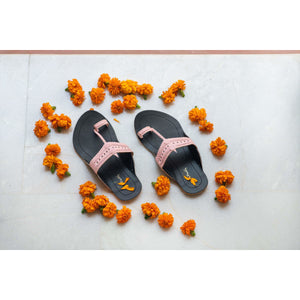 Black & Pink Handcrafted Two-Tone Kolhapuris