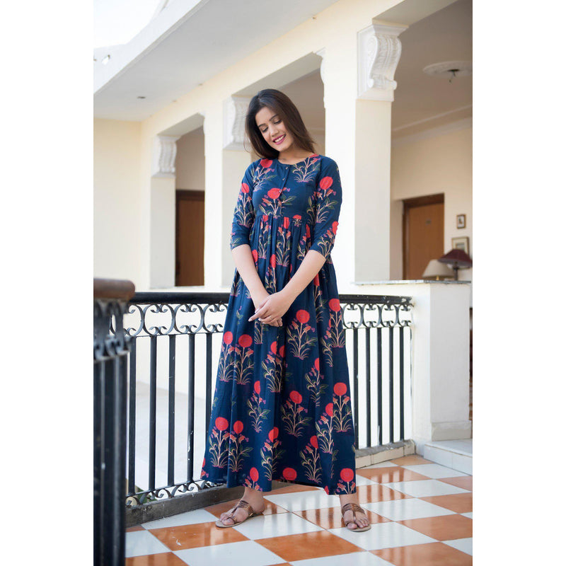 Blue Mughal Butta Hand Block Printed Maxi Dress