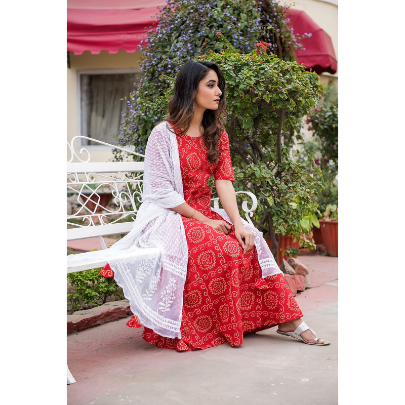 Red Bandhani Suit Set With Dupatta