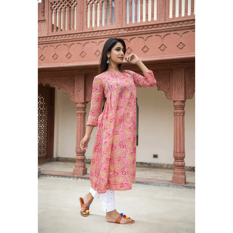Pink Paisley Block Printed Side Pleated Kurta