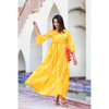 Yellow Bandhani Dress With Tassels