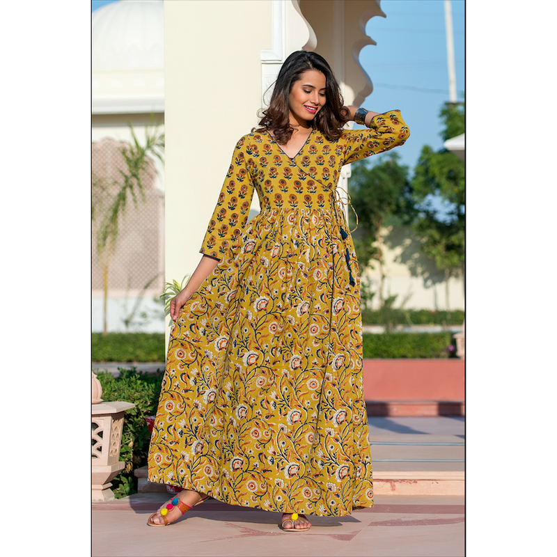 Bagru Print Angrakha Dress