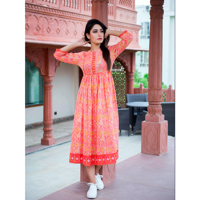 Orange Rush Cotton Printed Casual Maxi Dress