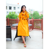Yellow Bandhej Side Pleated Dress With Scarf