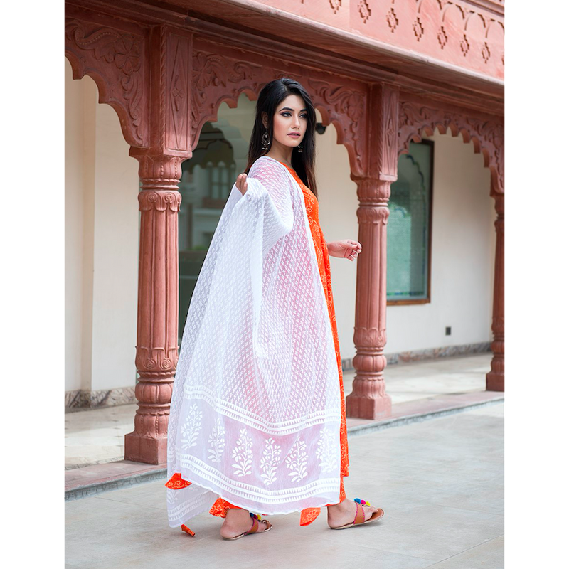 Orange Bandhani Suit Set With Dupatta