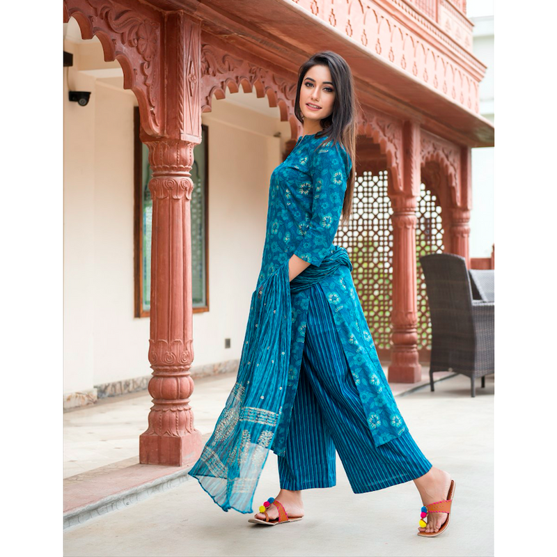 Turquoise Pearl Block Printed Suit Set With Golden Motifs