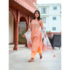Peach Floral Hand Block Printed Suit Set With Chiffon Dupatta