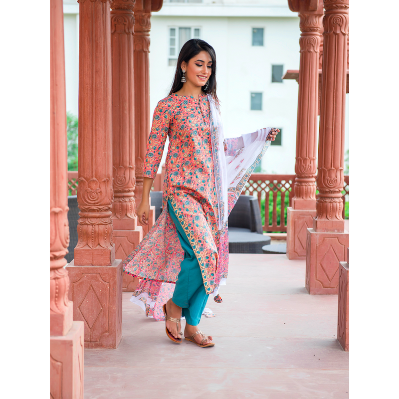 Turquoise Flower Block Printed Suit Set In Peach