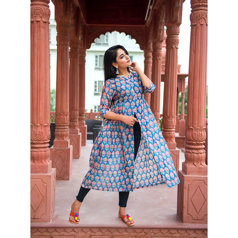 Blue Chanderi Front Slit Dress In Pomegranate print