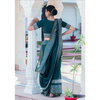 Sacramento Green Block Printed Chanderi Saree