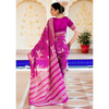 Magenta Pink Block Printed Chanderi Saree