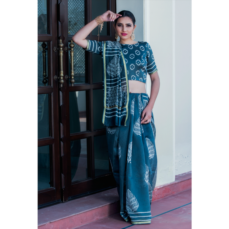 Green Leaf Block Printed Chanderi Saree