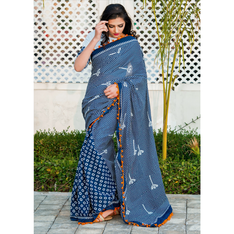 Indigo Print Cotton Mul Saree