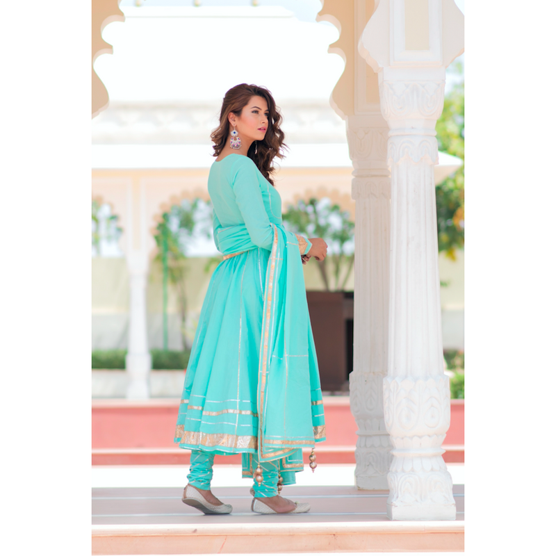 Mint Green Anarkali With Gota Work