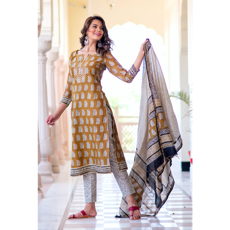 Golden Yellow Chanderi Gota Suit Set