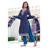 Block Printed Blue Chanderi Gota Suit Set