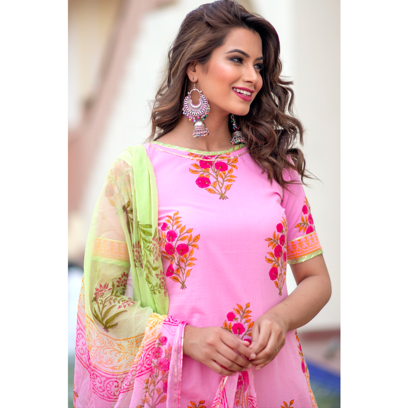 Pink Block Printed Suit Set With Gota Work