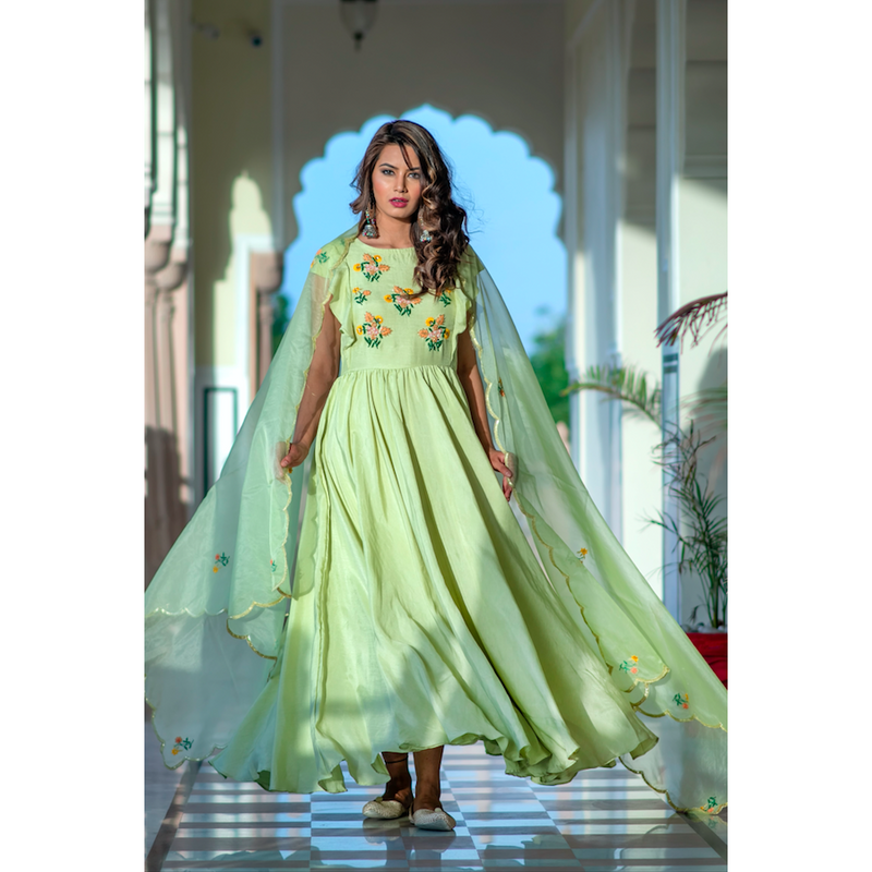 Pistachio Green Hand Embroidered Dress With Organza Dupatta