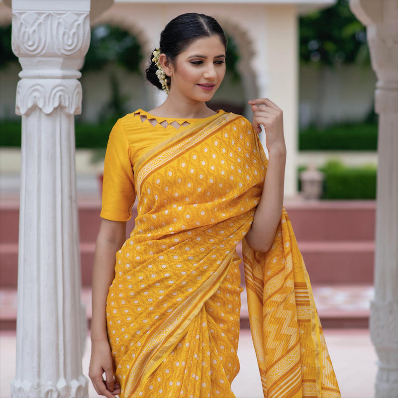 Yellow Block Printed Chanderi Sari