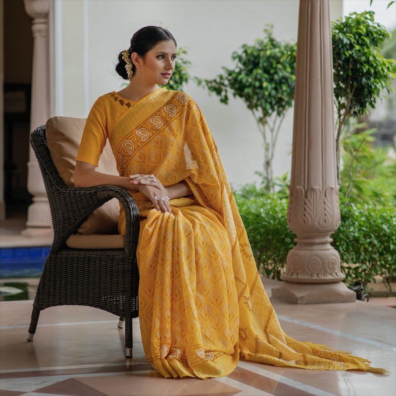 Yellow Block Printed Linen Sari