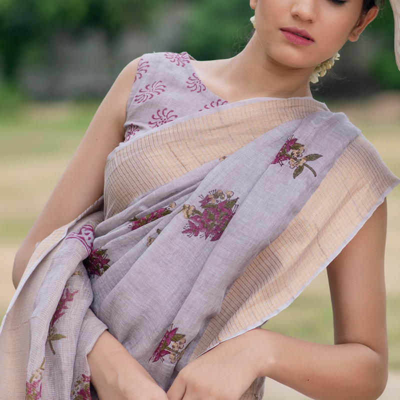 Mauve Purple Block Printed Linen Saree