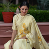 Hand Painted Linen Saree In Daffodil Yellow