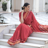 Red Chanderi Saree With Zari Border