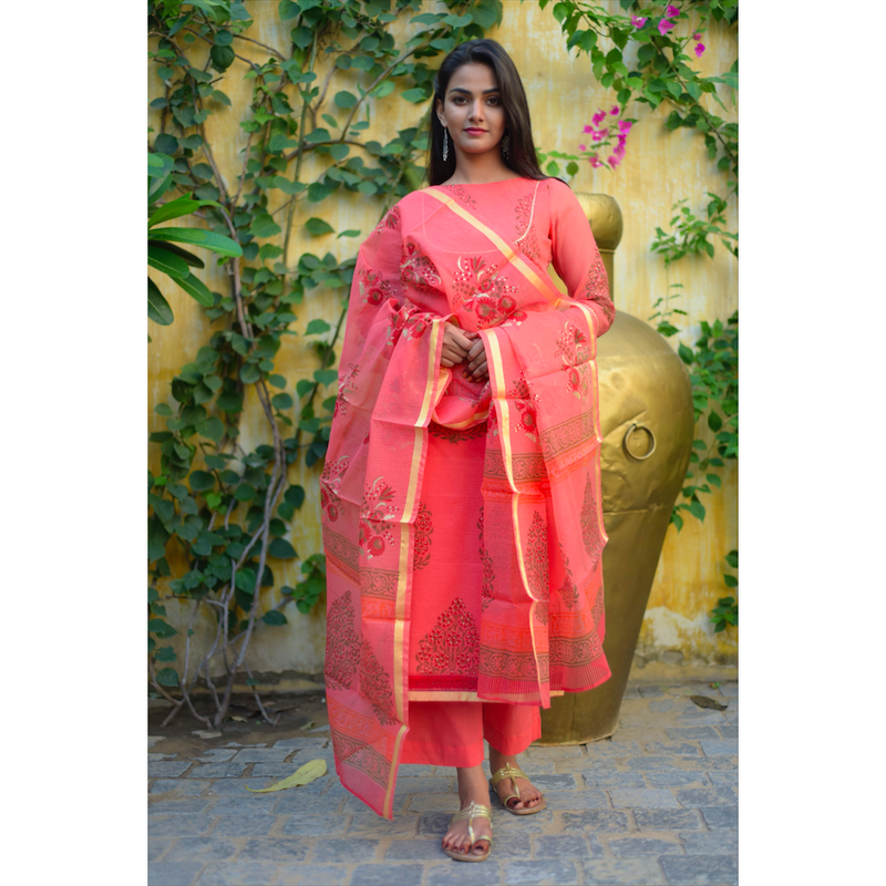 Coral Peach Block Printed Kota Doriya Suit Set
