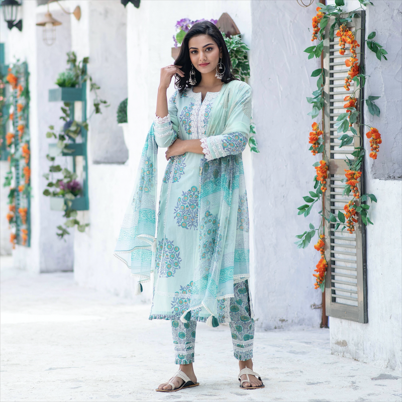 Mint Green Crochet Suit Set