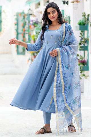 Blue Daisy Embroidered Suit Set