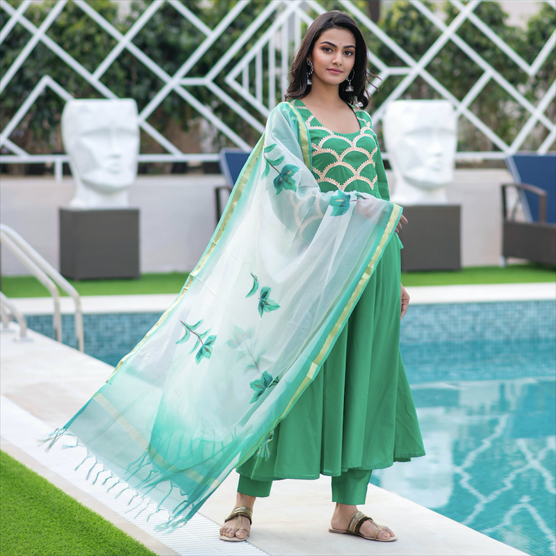 Emerald Green Embroidered Suit Set
